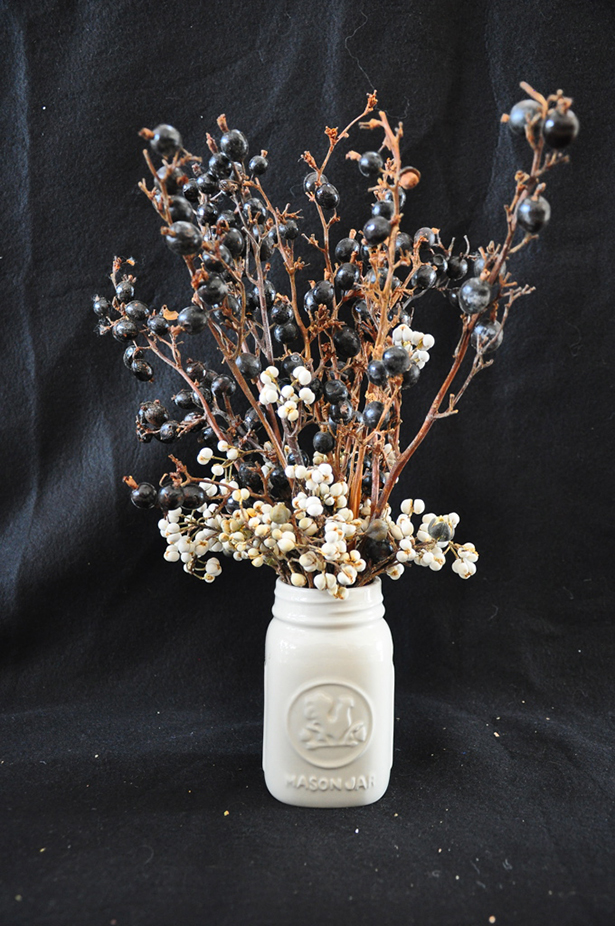 White Mason Jar boquet